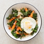 Gluten-Free Brown Rice Bowl with Roasted Carrots, Kale, and Fried Eggs